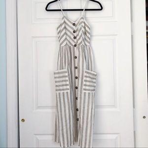 Striped Midi Button Down Dress